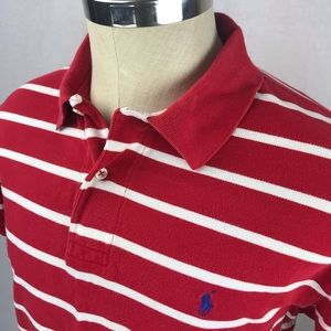 Polo Ralph Lauren red white striped polo shirt
